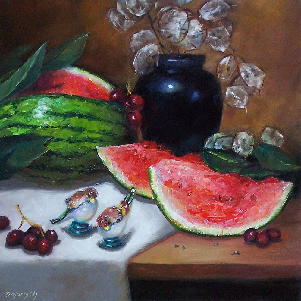 """""""Watermelon and Shakers"""" original fine art by Donna Munsch"""