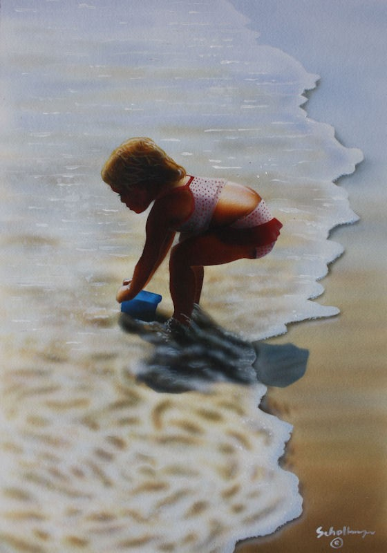 """""""Water for the Sandcastle"""" original fine art by Fred Schollmeyer"""