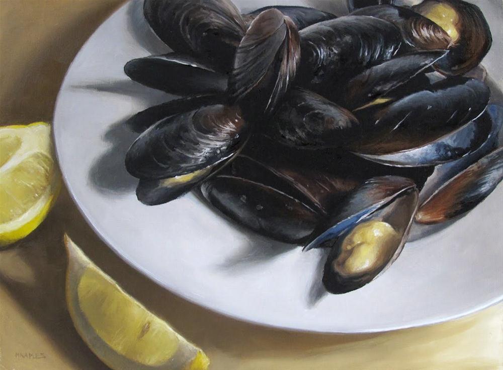 """""""Mussels with Lemon"""" original fine art by Michael Naples"""