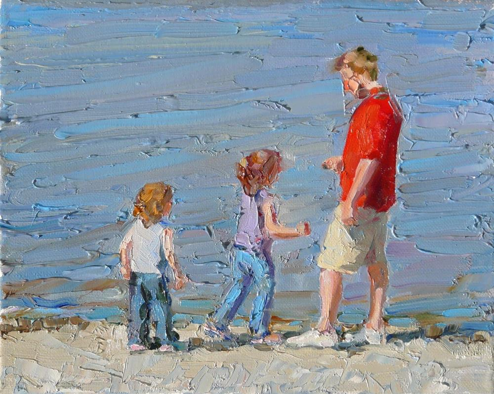 """""""Stone Skipping with Dad,figures,oil on canvas,8x10.price$500"""" original fine art by Joy Olney"""