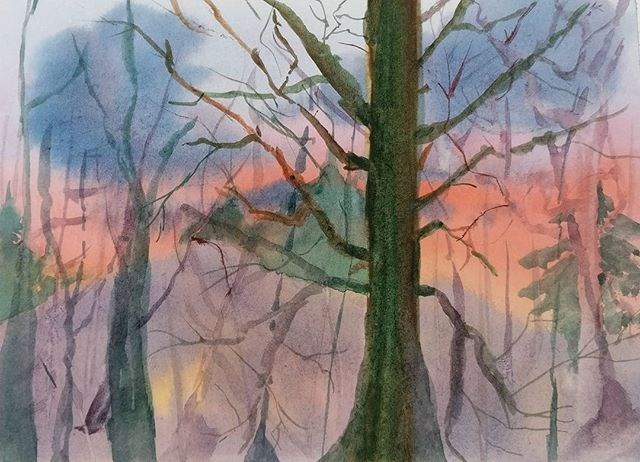 """Winter's Sunset"" original fine art by Maria Peagler"