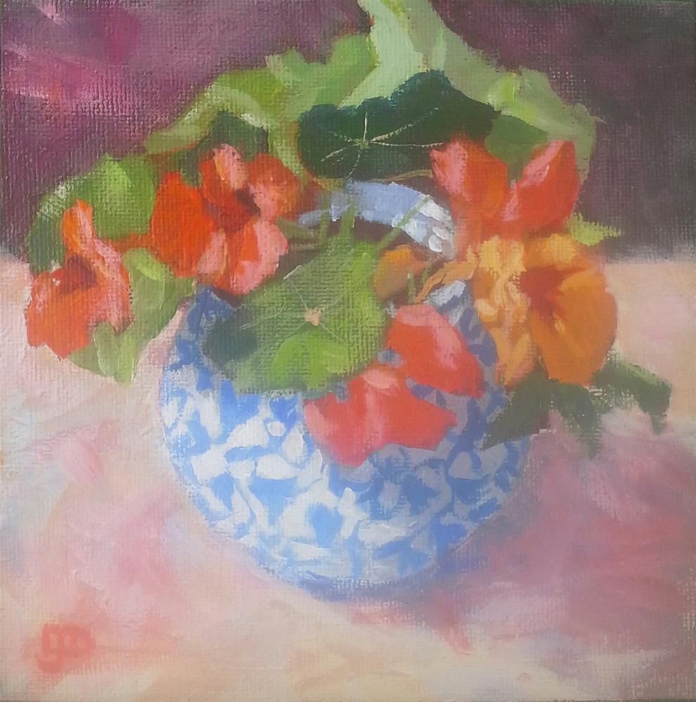 """""""Nasturtiums #2"""" original fine art by Leanne Owen"""