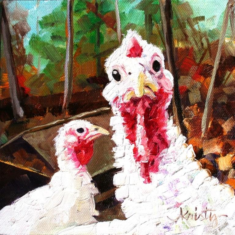 """TALK TURKEY"" original fine art by Kristy Tracy"