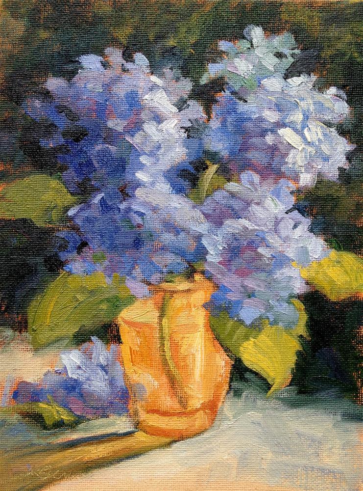 """""""Blue Hydrangea in Yellow Glass III"""" original fine art by Jeanne Bruneau"""