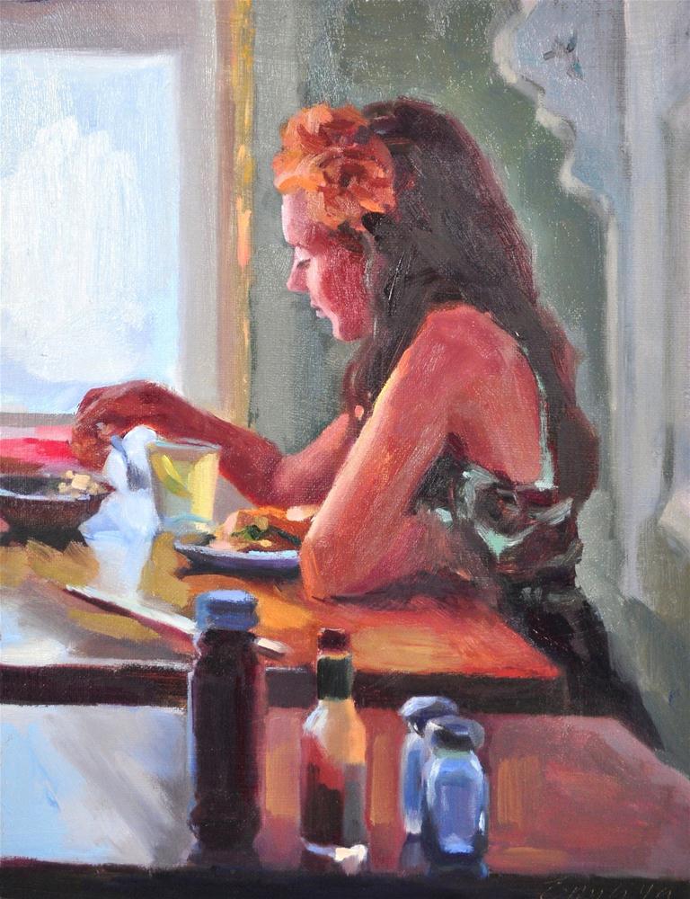 """""""Lunch Date oil on linen, 11x14"""" original fine art by Emiliya Lane"""