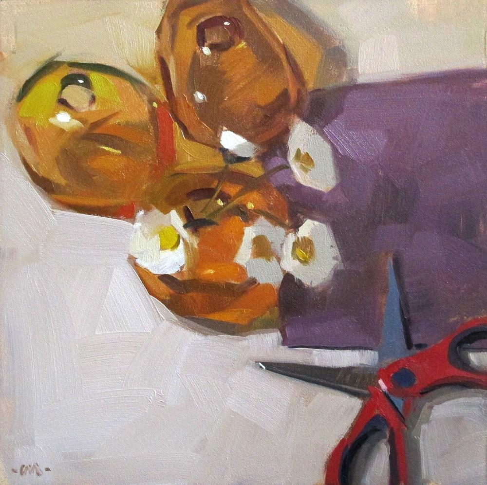 """""""Little Scissors, Little Flowers"""" original fine art by Carol Marine"""