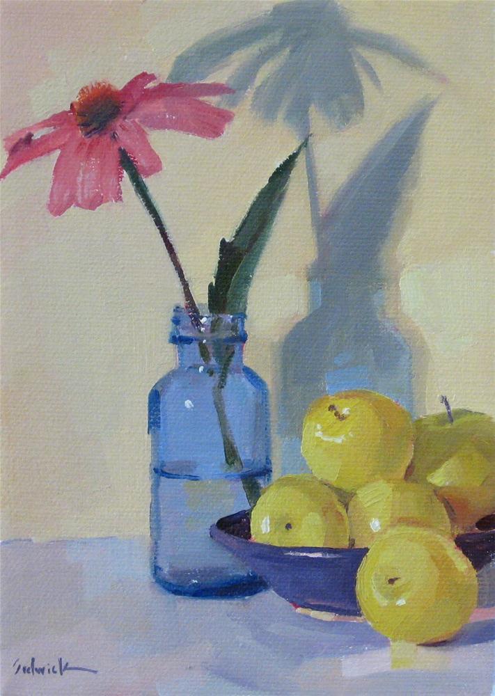 """Coneflower fine art oil painting one dollar auction and a bonus self-pitying rant"" original fine art by Sarah Sedwick"