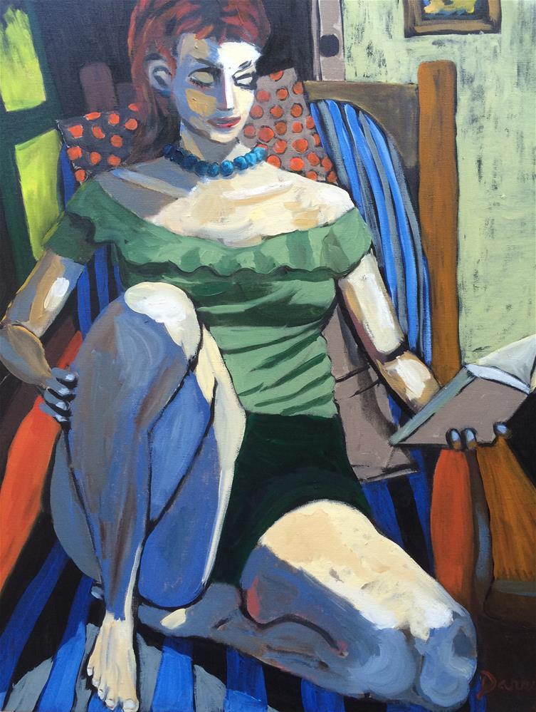 """A Great Read"" original fine art by Darryl Freeman"