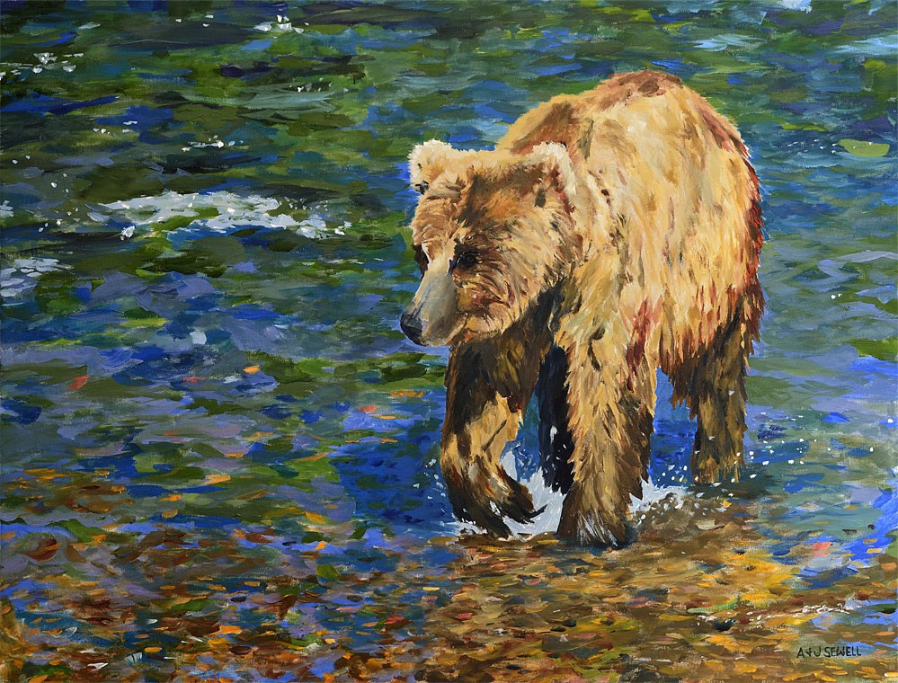 """""""River Grizzly"""" original fine art by Andy Sewell"""