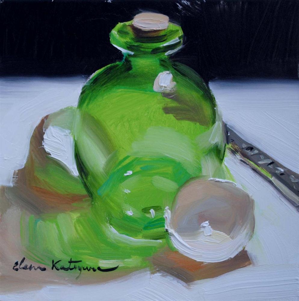 """Green Shadow"" original fine art by Elena Katsyura"