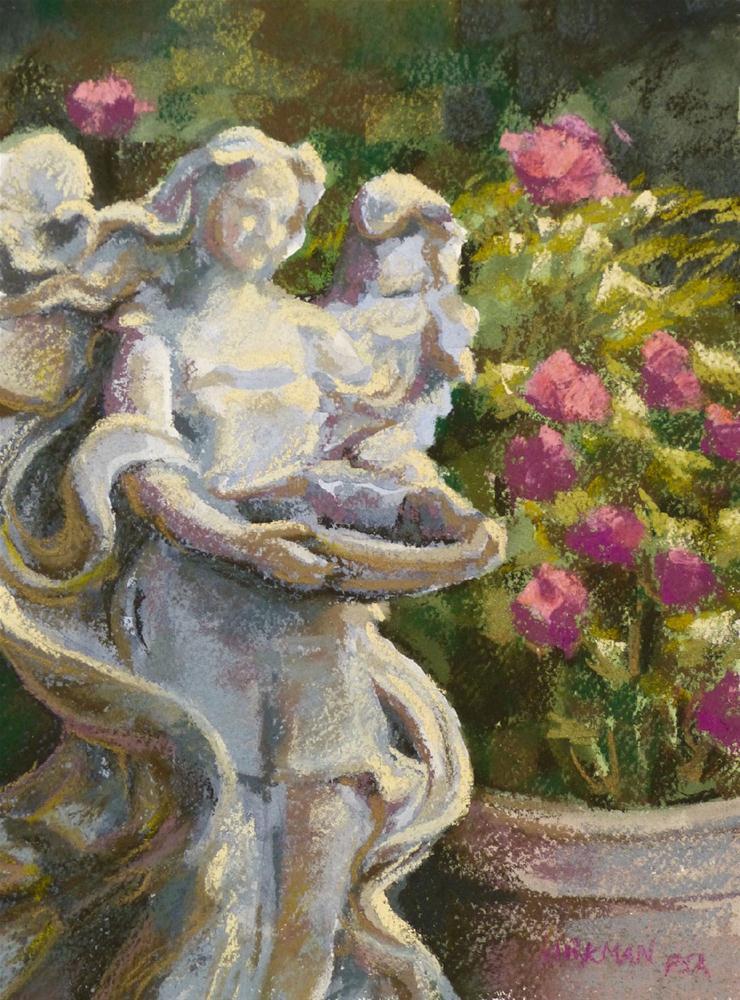 """Garden Angel (my DPW Challenge- 2cd painting)"" original fine art by Rita Kirkman"