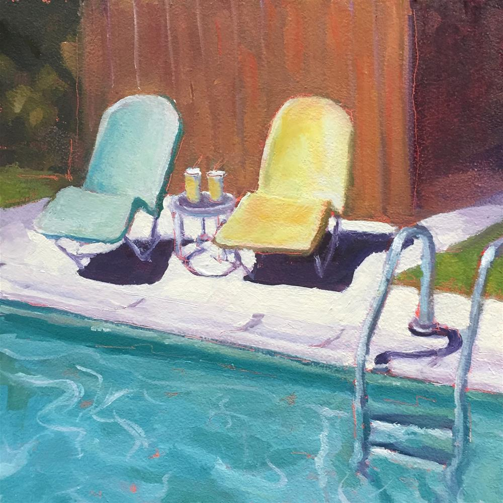 """Lounge Chairs and Lemonade"" original fine art by Lisa Sotero"