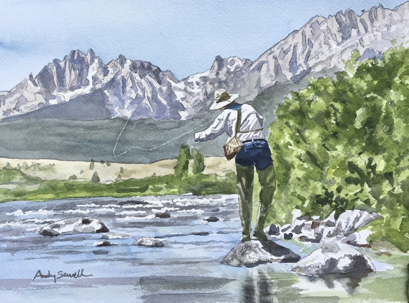 """""""Sawtooth Country Cast"""" original fine art by Andy Sewell"""