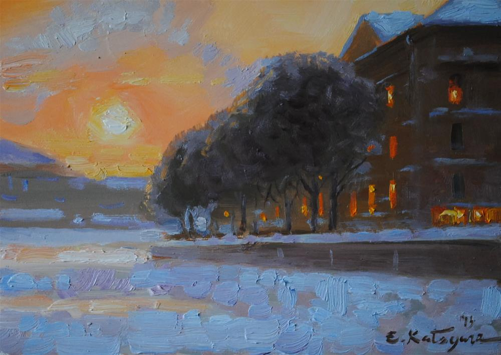 """Winter Sunset"" original fine art by Elena Katsyura"
