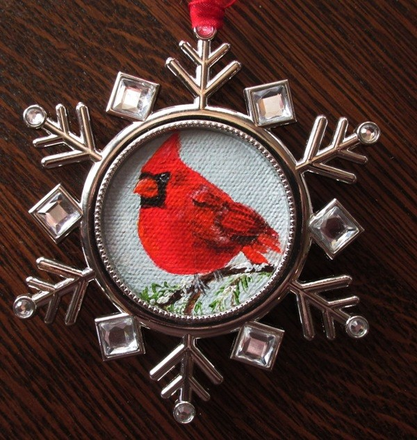 """Snowflake Cardinal Ornament"" original fine art by Ruth Stewart"