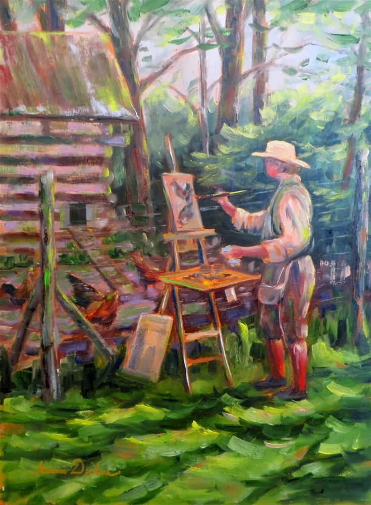 """Painting the Chickens"" original fine art by Tammie Dickerson"