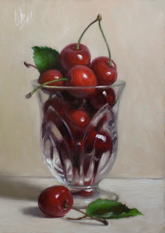 """Cherries in Glass"" original fine art by Debra Becks Cooper"