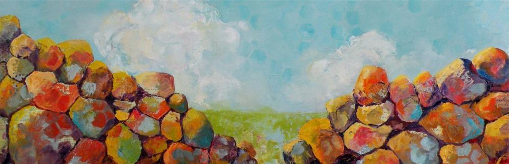 """ROCKS AND CLOUDS MIXED MEDIA LANDSCAPE © SAUNDRA LANE GALLOWAY"" original fine art by Saundra Lane Galloway"