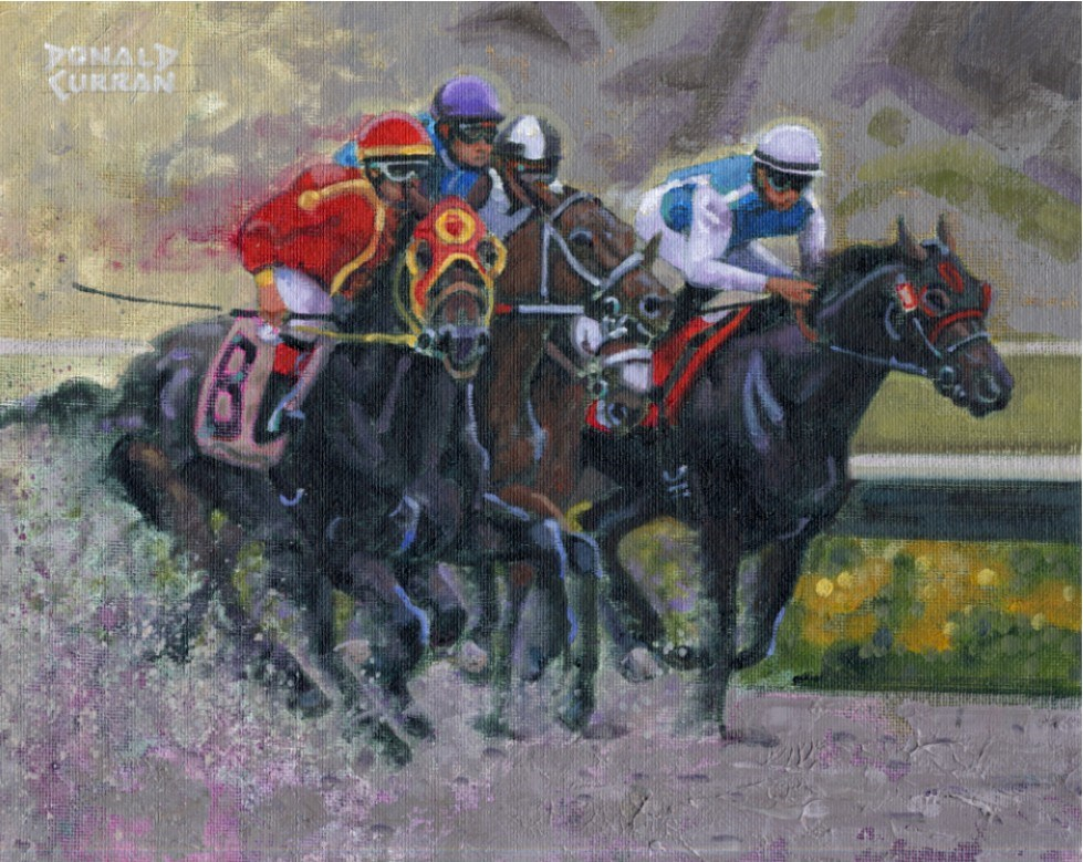 """""""Down the Stretch"""" original fine art by Donald Curran"""