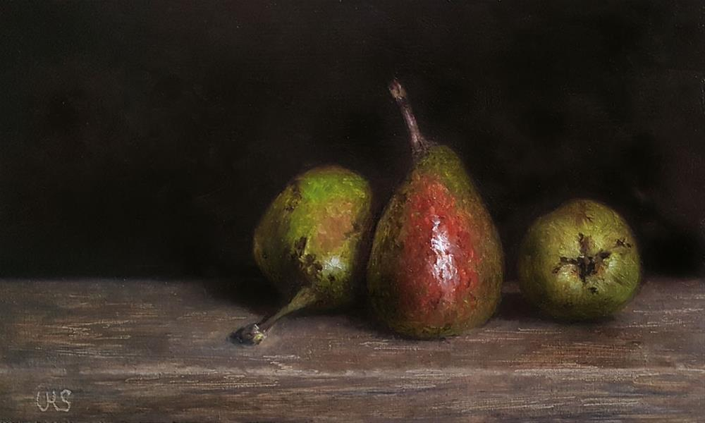 """Three Pears"" original fine art by Ulrike Miesen-Schuermann"