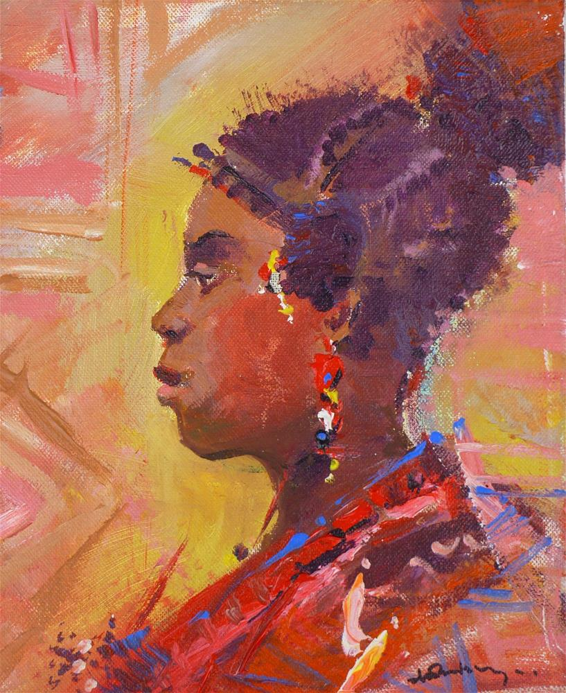 """The Edo Lady"" original fine art by Adebanji Alade"