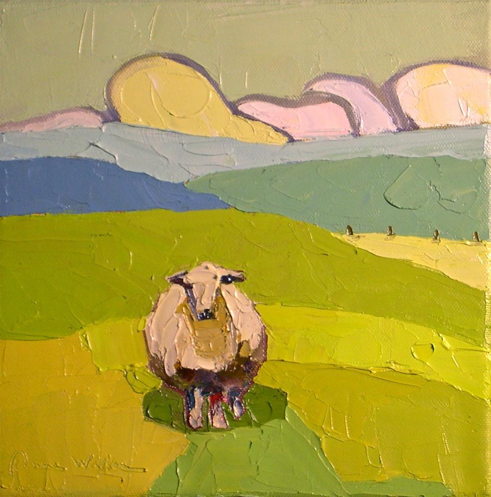"""""""Sheep in the Green Pastureland"""" original fine art by Donna Walker"""