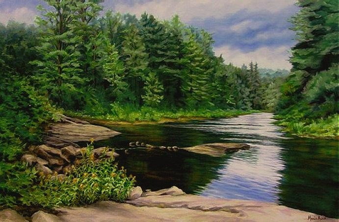 """New Boston River"" original fine art by Maria Levandowski"