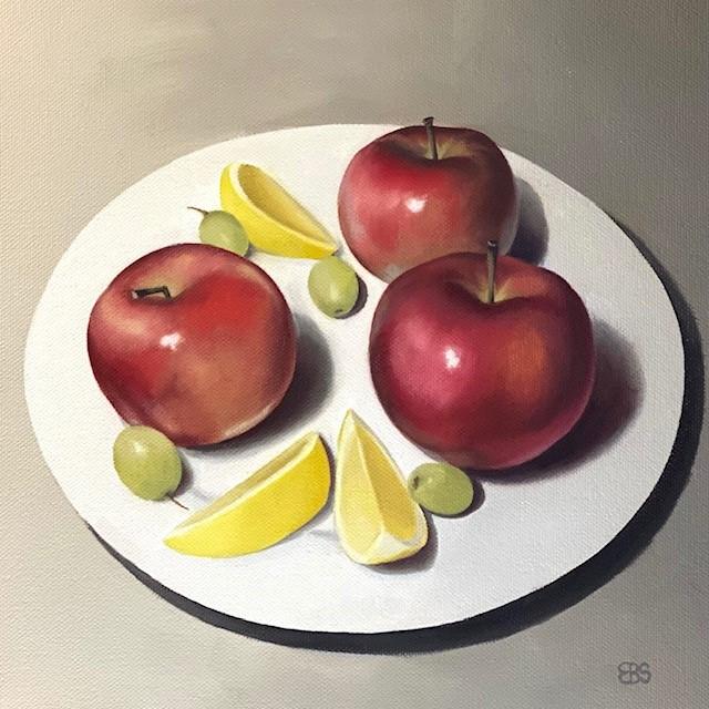 """Apples with Lemons and Grapes"" original fine art by Elaine Brady Smith"