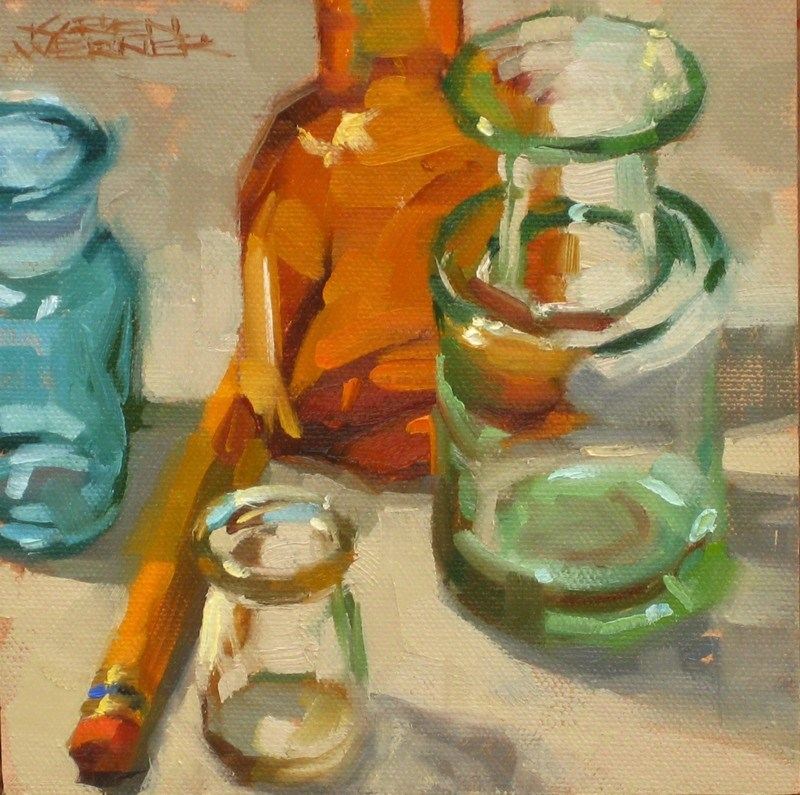 """Bottles"" original fine art by Karen Werner"