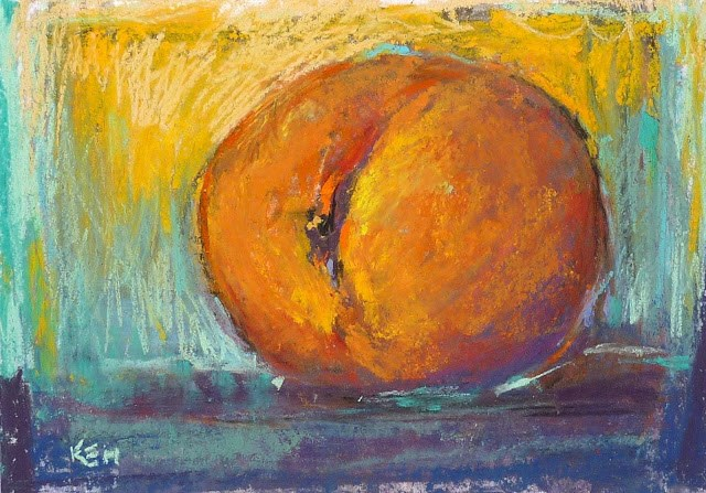 """Why I Love NuPastels...Georgia Peach!"" original fine art by Karen Margulis"