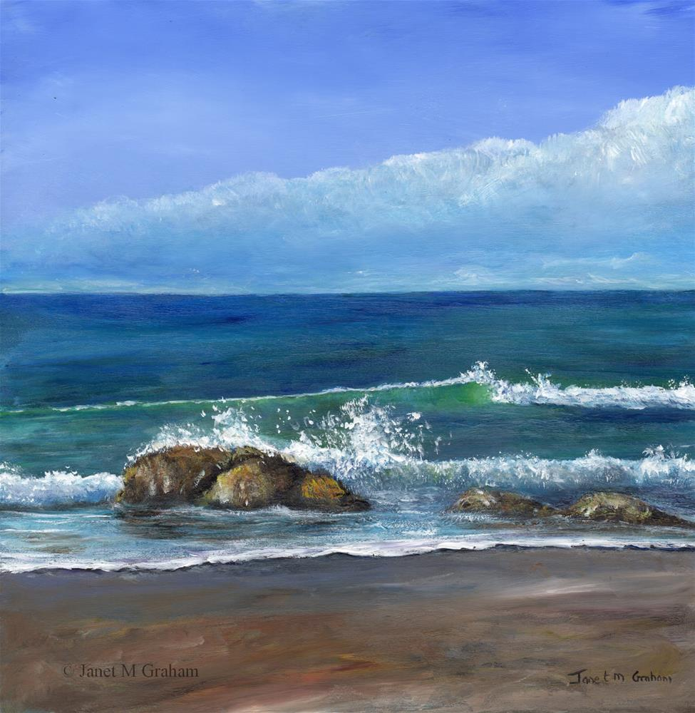 """Kirra Beach 3"" original fine art by Janet Graham"