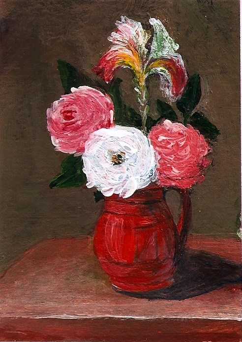 """""""ACEO Three Roses and Iris in the Style of Jacob Van Es Painting Penny StewArt"""" original fine art by Penny Lee StewArt"""
