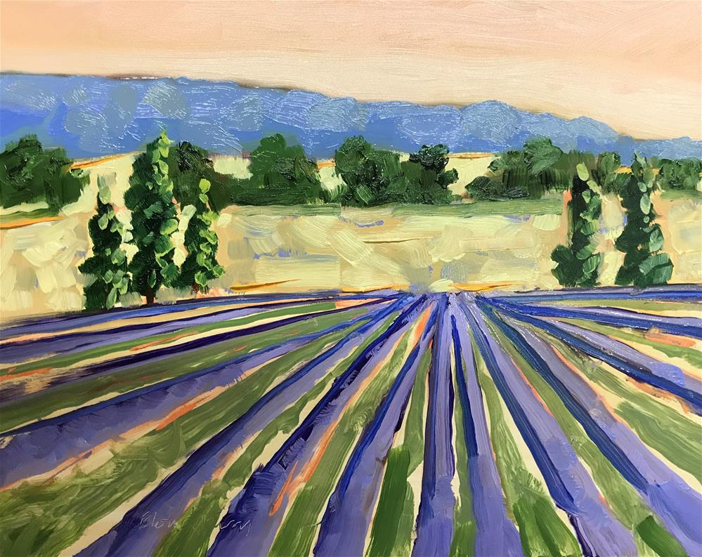 """Lavender Crop Painting"" original fine art by Linda Blondheim"