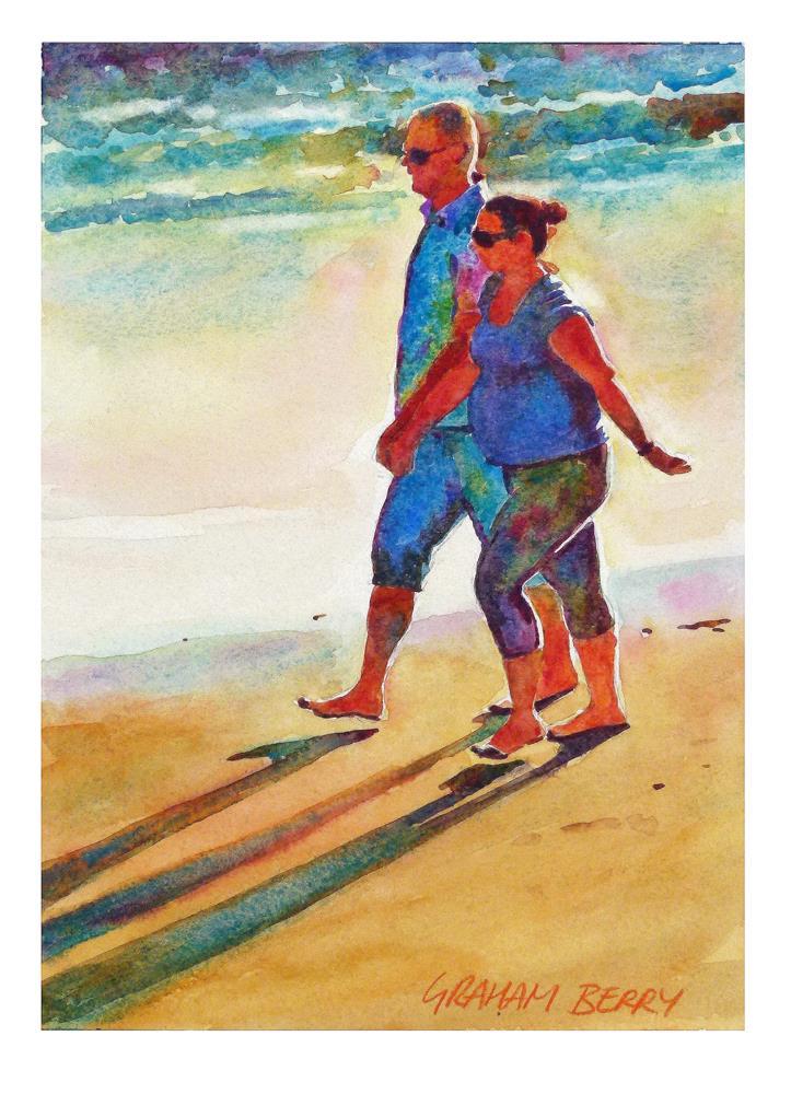 """Shoreline couple"" original fine art by Graham Berry"