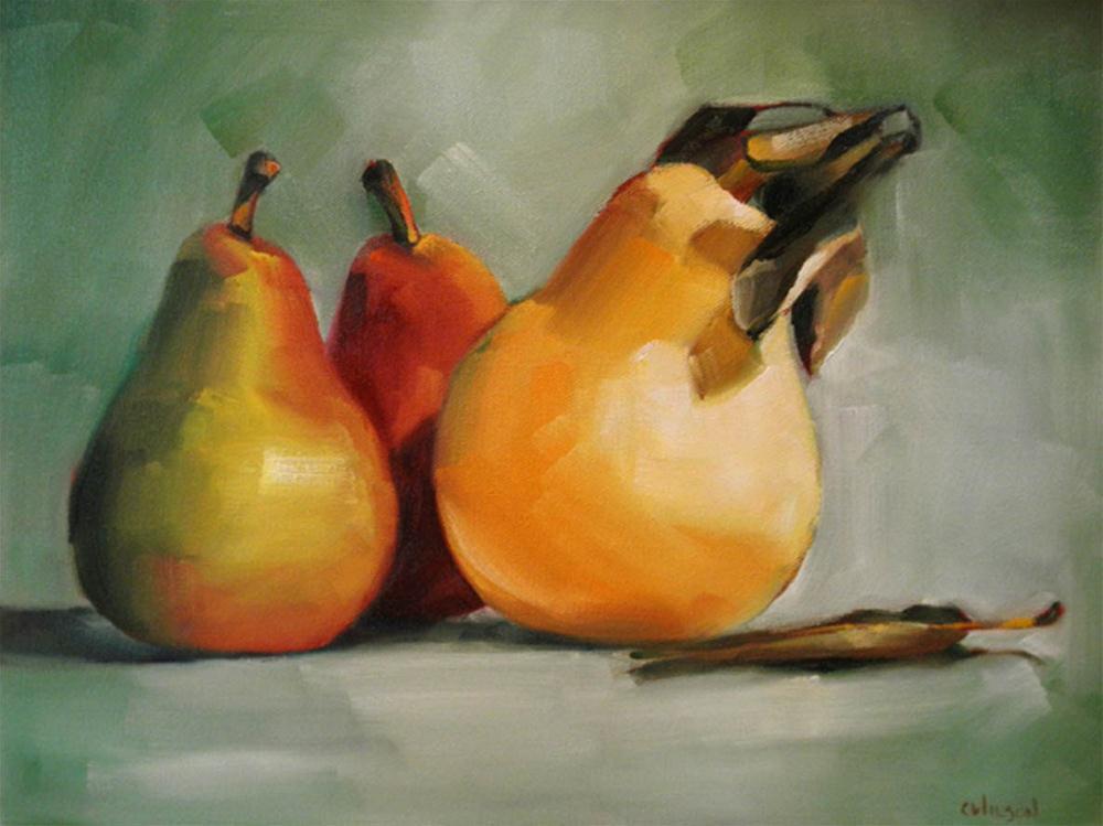 """Pears Yellow Green Red"" original fine art by Cheryl Wilson"