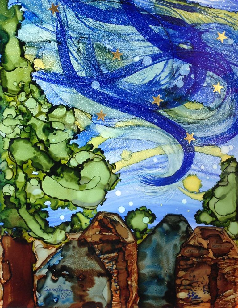 """One Starry Night"" original fine art by Anna Penny"