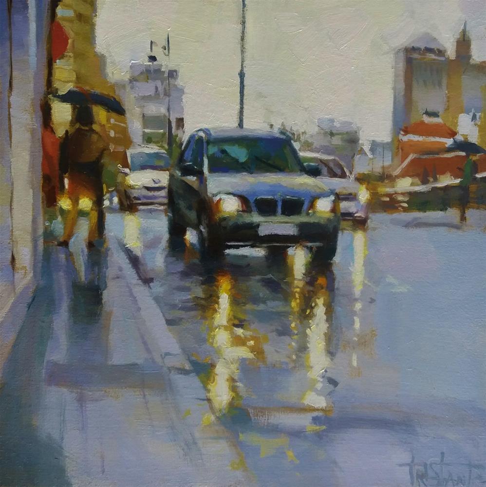"""Headlights and rain"" original fine art by Víctor Tristante"