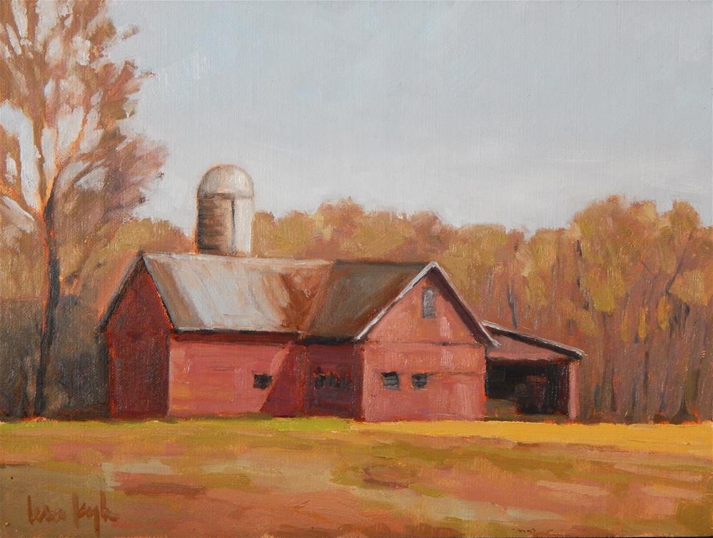 """Red Barn in Sunlight"" original fine art by Lisa Kyle"