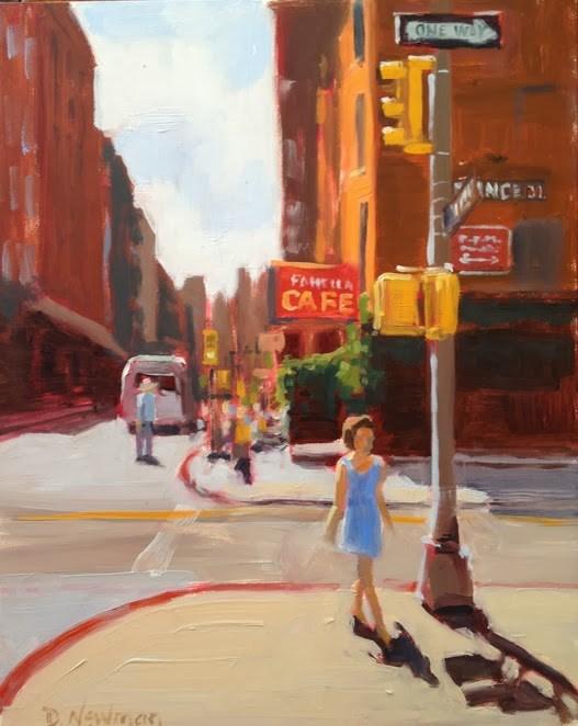 """""""Strolling in Soho"""" original fine art by Deborah Newman"""