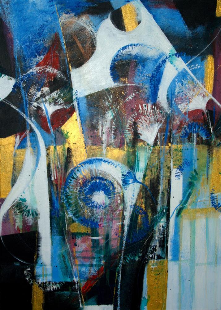 """Blue Flowers"" original fine art by Zuzana Petrakova"