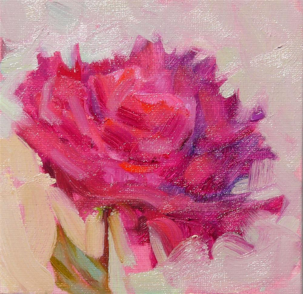 """Another Magenta Peonies,still life,oil on canvas,6x6,price$175"" original fine art by Joy Olney"