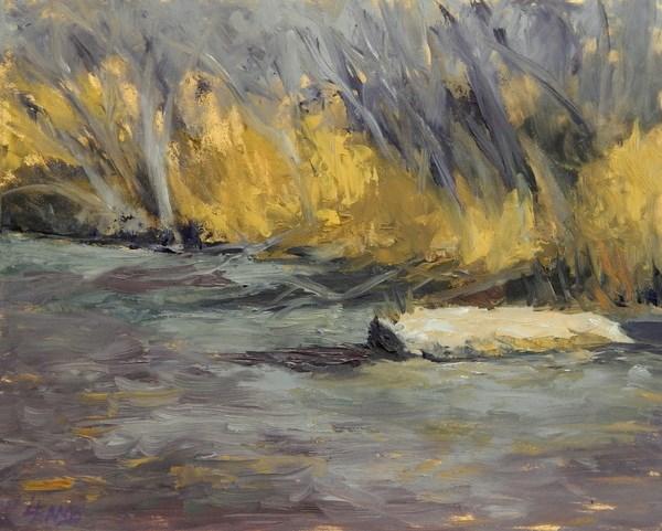 """""""Winter Creek"""" original fine art by Lori L. Lamb"""