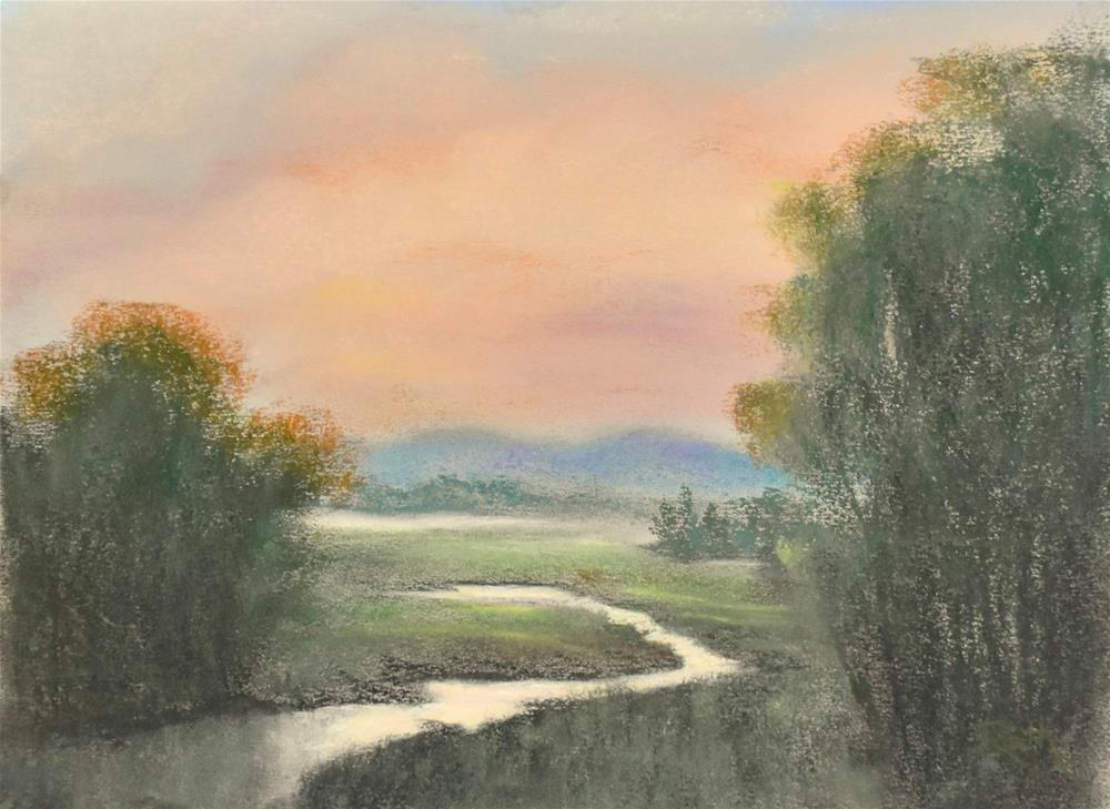 """Sunset at Flat Creek"" original fine art by Judy Rath"