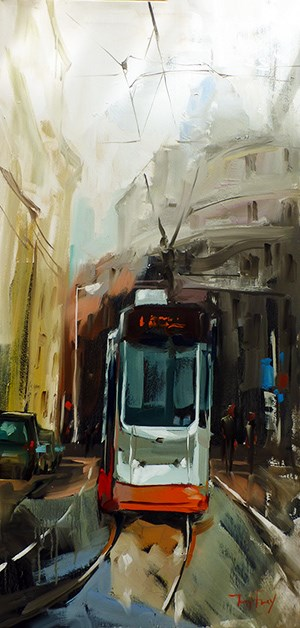 """Tramway"" original fine art by Jurij Frey"