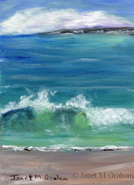 """Seascape 2 ACEO"" original fine art by Janet Graham"