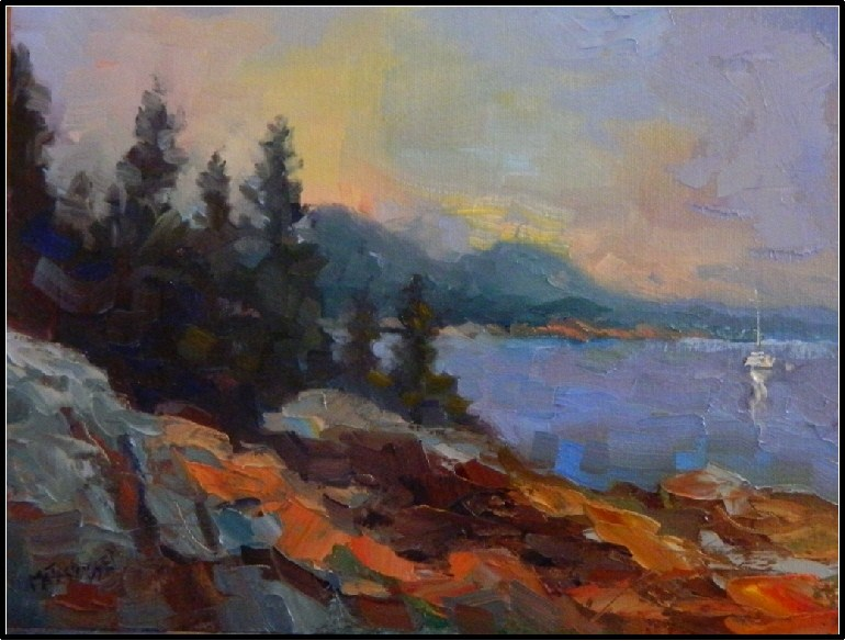 """""""Acadian Morning, 9x12, oil on Raymar panel, Acadia Nat'l PArk, Cadillac Mountain, Maine landscapes"""" original fine art by Maryanne Jacobsen"""