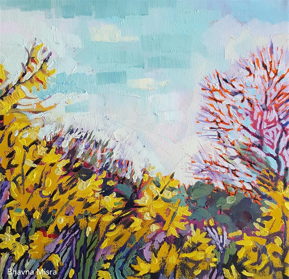 """""""Forsythia Field - Sold"""" original fine art by Bhavna Misra"""