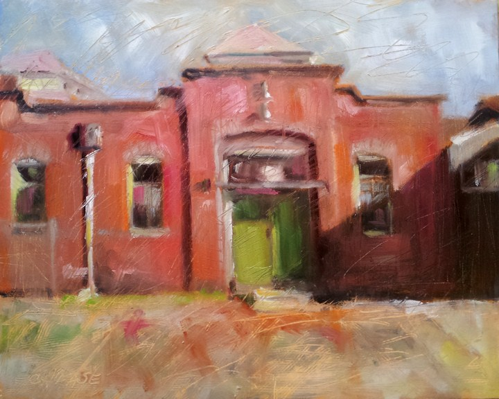 """""""Green Door"""" original fine art by Cindy Haase"""