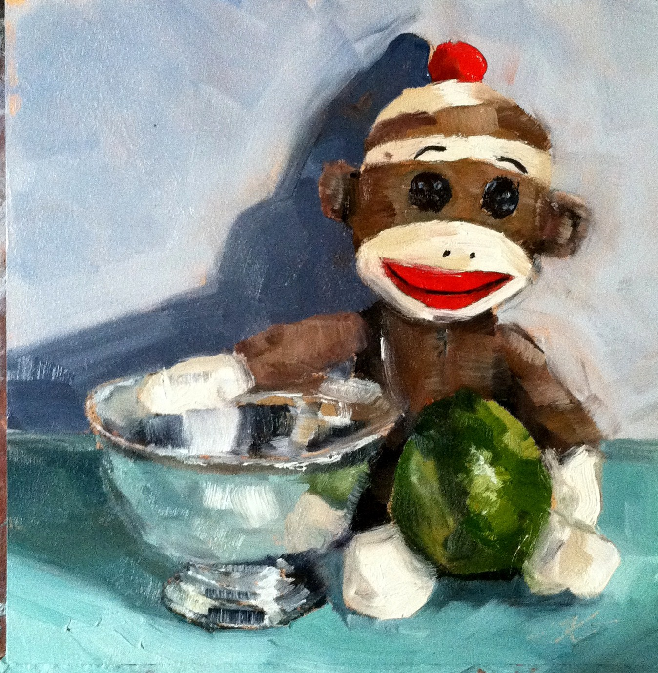 """Sock Monkey with Still Life"" original fine art by Kristen Dukat"