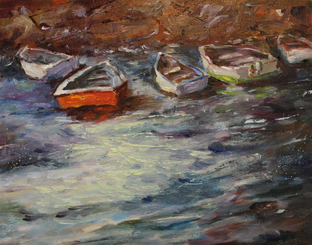 """Oil boat wharf pier seascape painting"" original fine art by Alice Harpel"